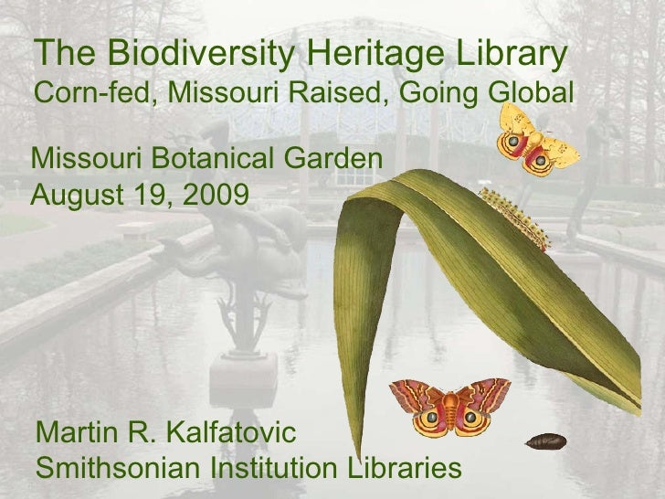The Biodiversity Heritage Library Corn-fed, Missouri Raised, Going Global Martin R. Kalfatovic Smithsonian Institution Lib...