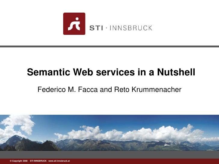 Semantic Web services in a Nutshell<br />Federico M. Facca and RetoKrummenacher<br />