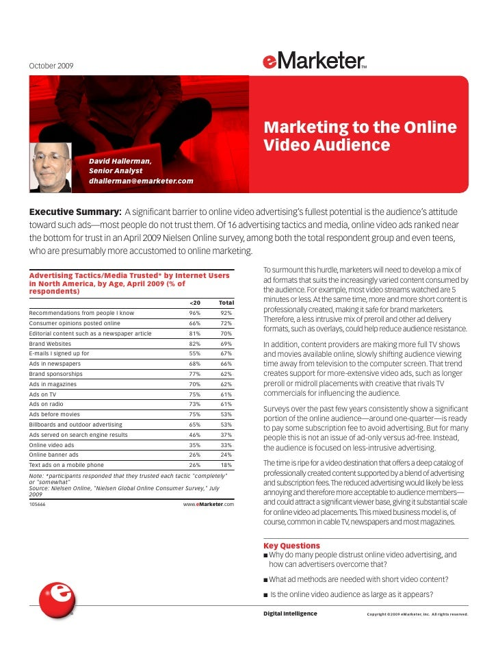 2009.10.05 --e marketer---marketing-to-online-video-audience