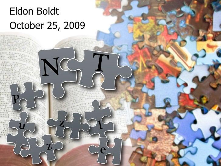 Eldon Boldt October 25, 2009