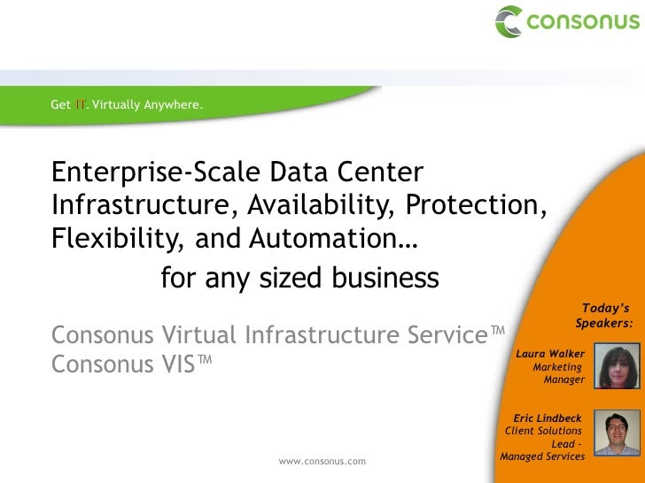 Enterprise-Scale Data Center Infrastructure, Availability, Protection, Flexibility, and Automation…  Consonus Virtual Infr...