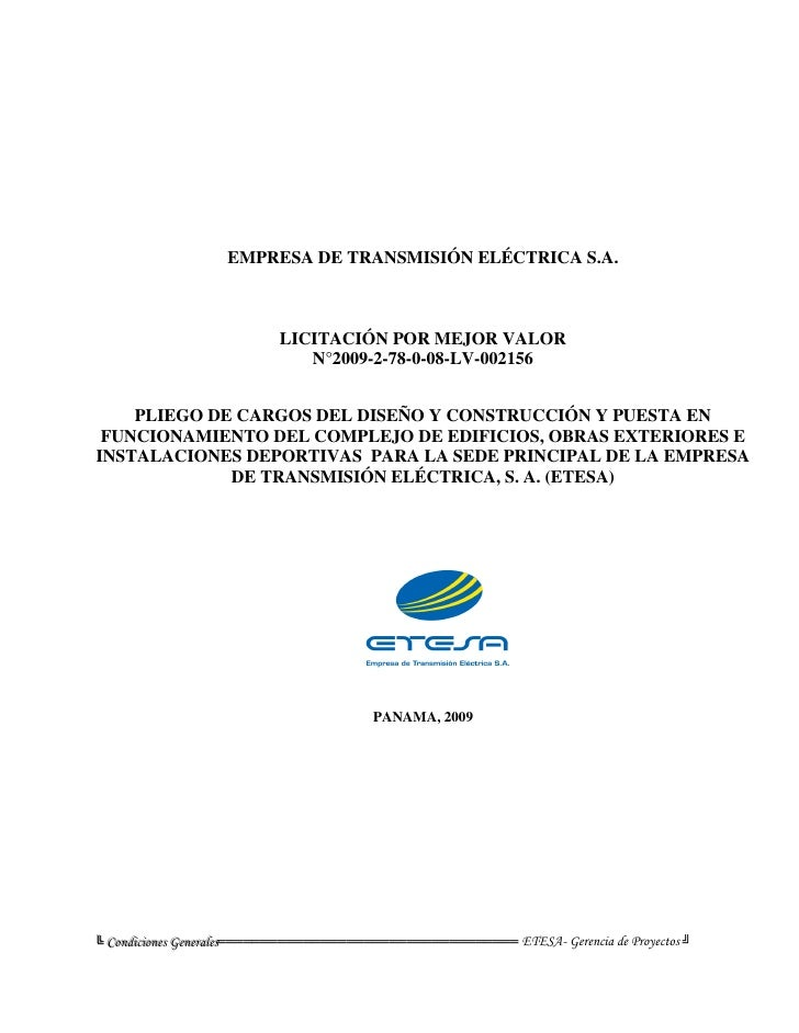 EMPRESA DE TRANSMISIÓN ELÉCTRICA S.A.                                   LICITACIÓN POR MEJOR VALOR                        ...