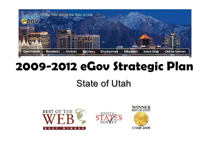 2009-2012 eGov Strategic Plan          State of Utah