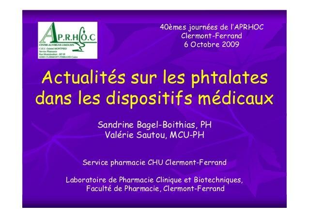 40èmes journées de l'APRHOC                                   Clermont-Ferrand                                    6 Octobr...
