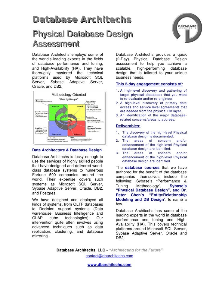 4733925-49530DATAbase ArchiTECHS  <br />Physical Database Design <br />Assessment<br />Database Architechs employs some of...