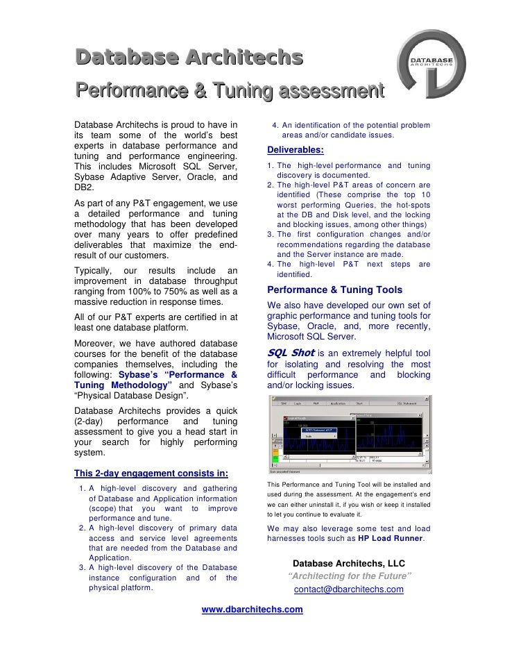 2010/08 - Database Architechs Performance and Tuning Assessment