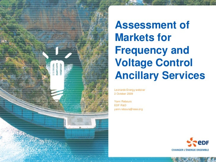 Assessment of Markets for Frequency and Voltage Control Ancillary Services