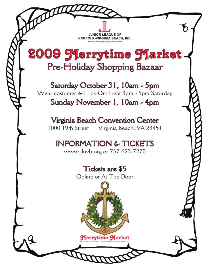 2009 Merrytime Market     Pre-Holiday Shopping Bazaar      Saturday October 31, 10am - 5pm  Wear costumes &Trick-Or-Treat ...