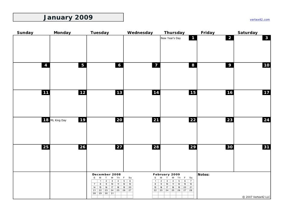 January Calendar 2009 : Monthly calendar bw landscape