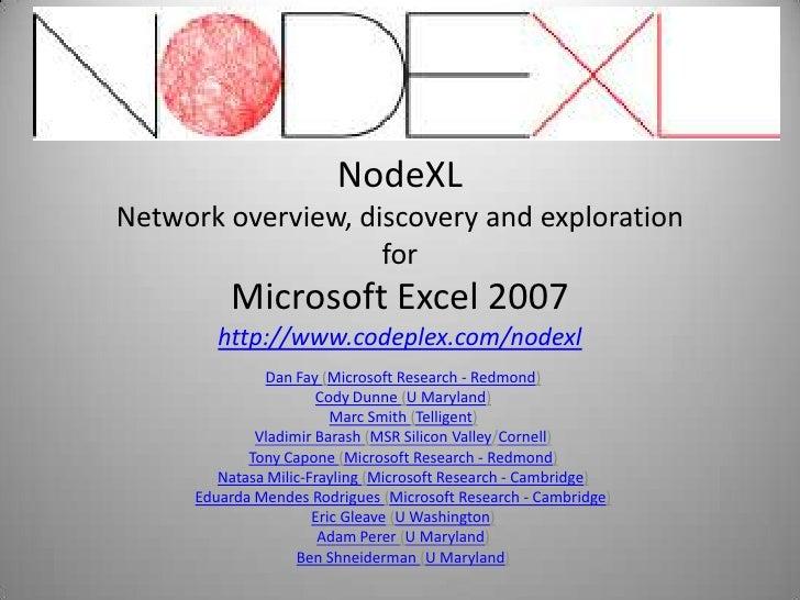 2009 - Node XL v.84+ - Social Media Network Visualization Tools For Excel 2007