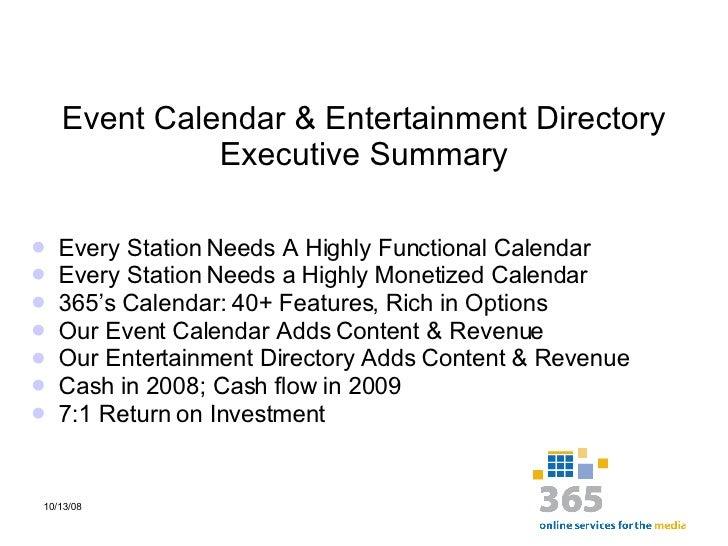 2009 Webinar Event Calendar & Entertainment Directory Presentation