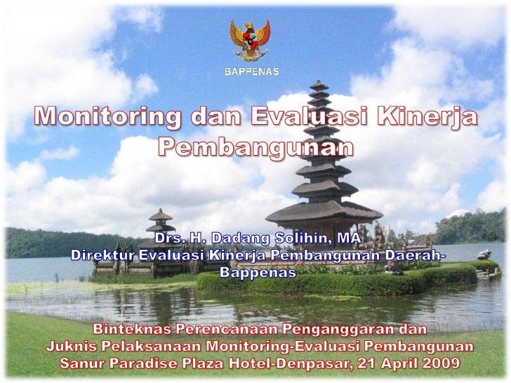 Monitoring dan Evaluasi Kinerja Pembangunan