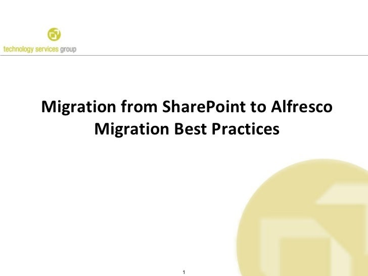 Migration from SharePoint to Alfresco Migration Best Practices