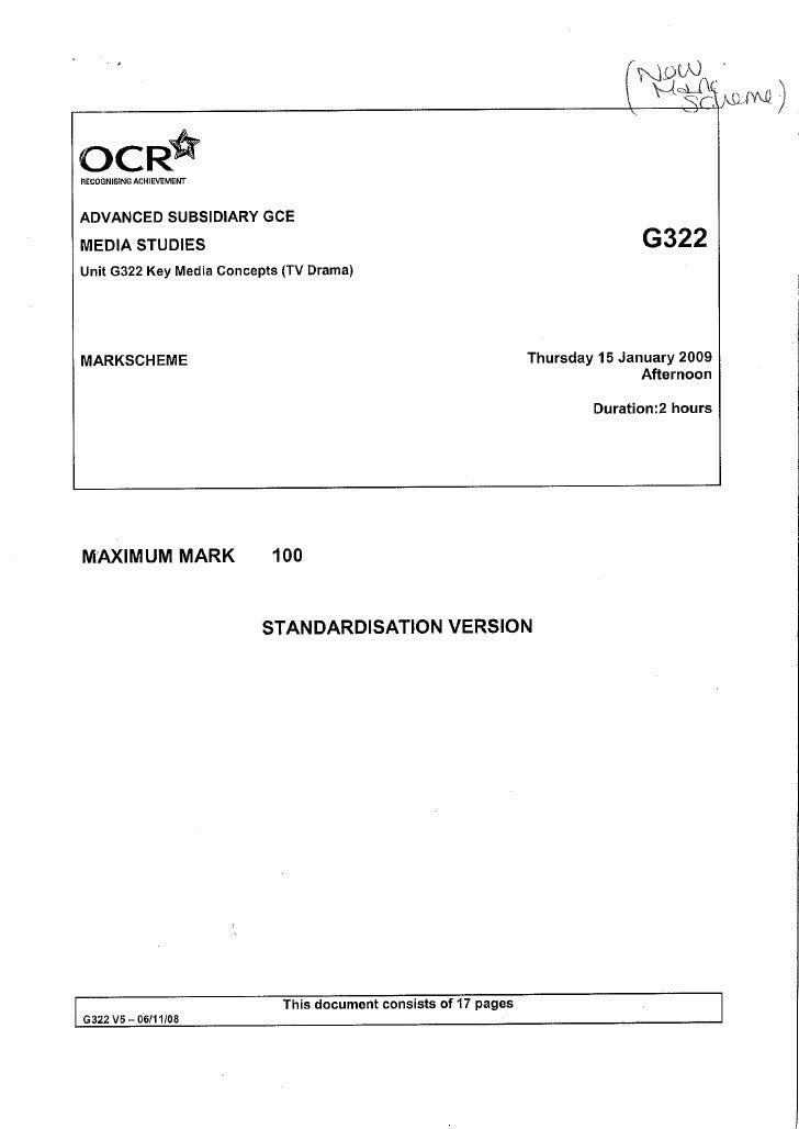 G322 Mark Scheme