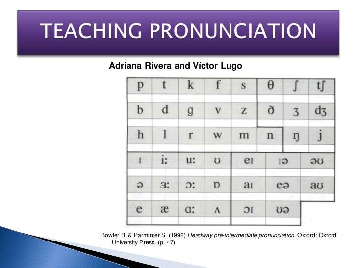 TEACHINGPRONUNCIATION<br />Adriana Rivera and Víctor Lugo<br />Bowler B. & Parminter S. (1992) Headway pre-intermediate pr...