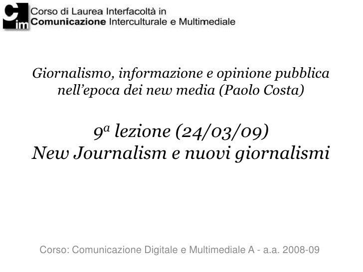 New Journalism e nuovi giornalismi