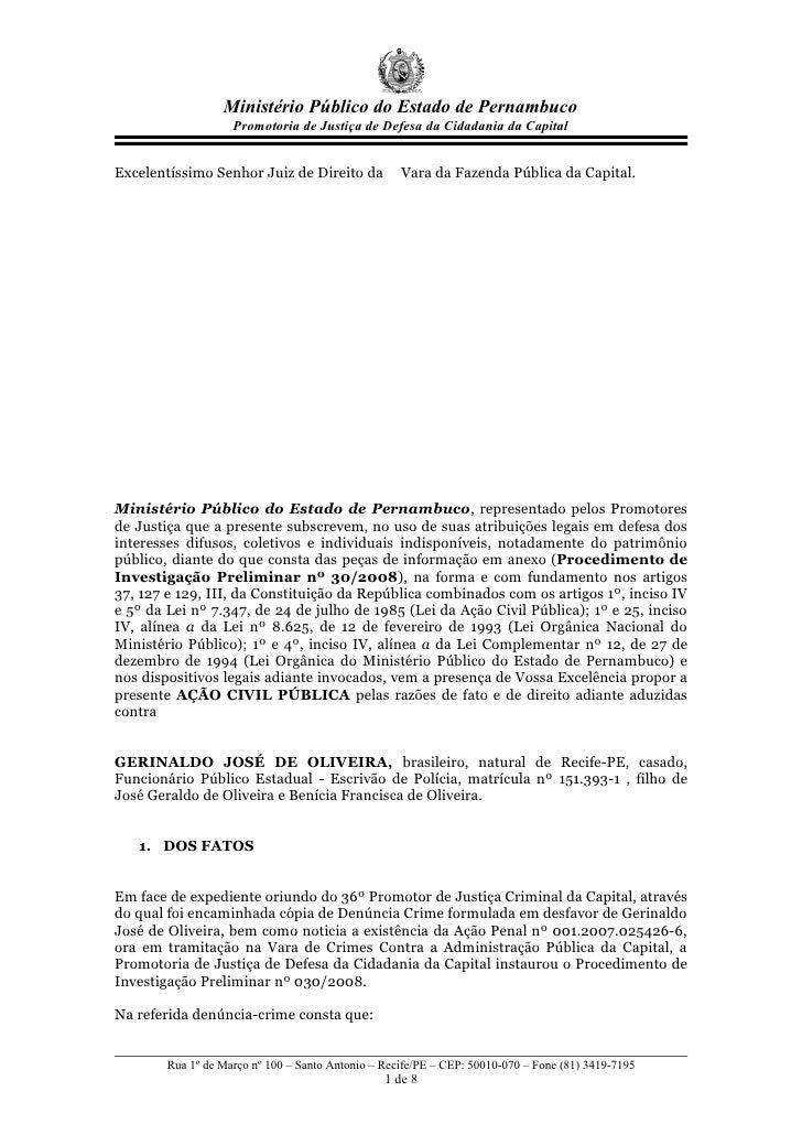 Ministério Público do Estado de Pernambuco                     Promotoria de Justiça de Defesa da Cidadania da Capital   E...