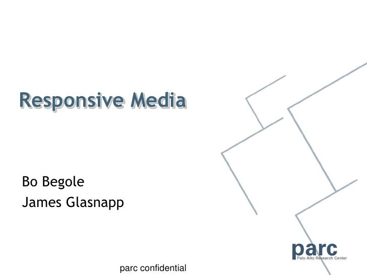 Responsive Media   Bo Begole James Glasnapp    Strategic review March  2009                     parc confidential