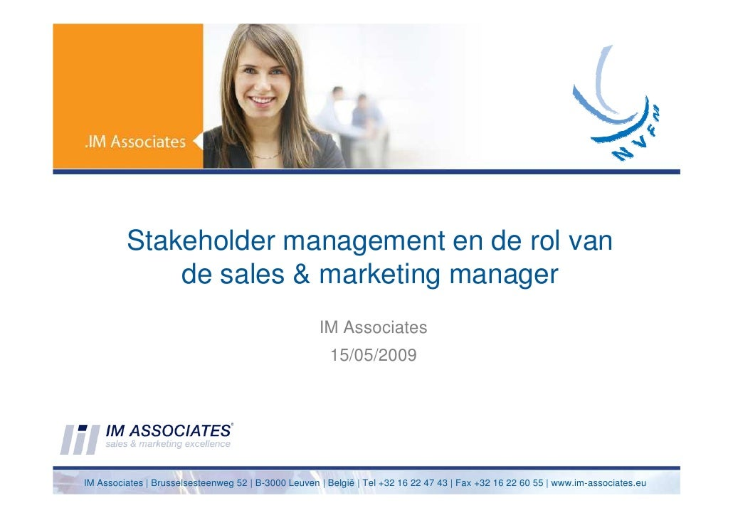 Stakeholder management: the sales and marketing manager's role