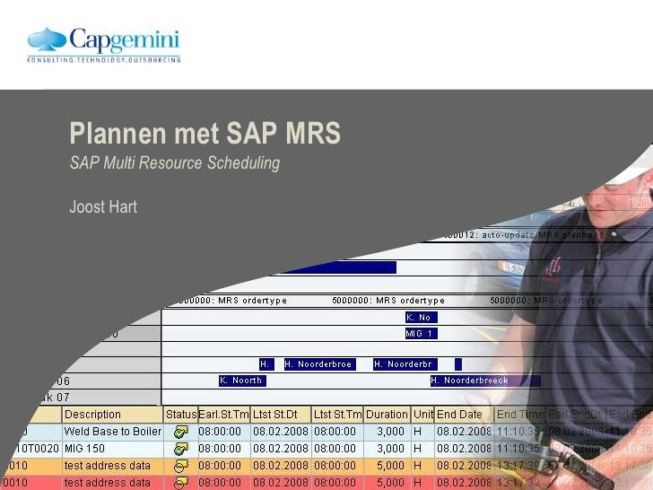 Plannen met SAP MRS SAP Multi Resource Scheduling  Joost Hart