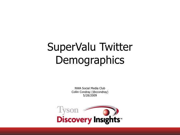SuperValu Twitter Demographics NWA Social Media Club Collin Condray (@ccondray) 5/28/2009