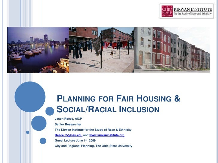 Planning for Fair Housing & Social/Racial Inclusion
