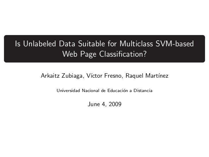 Is Unlabeled Data Suitable for Multiclass SVM-based Web Page Classification?