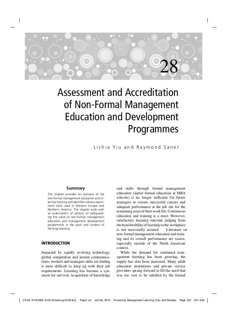 28                          Assessment and Accreditation                           of Non-Formal Management               ...