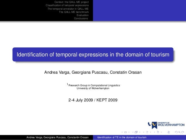 Identification of temporal expressions in the domain of tourism