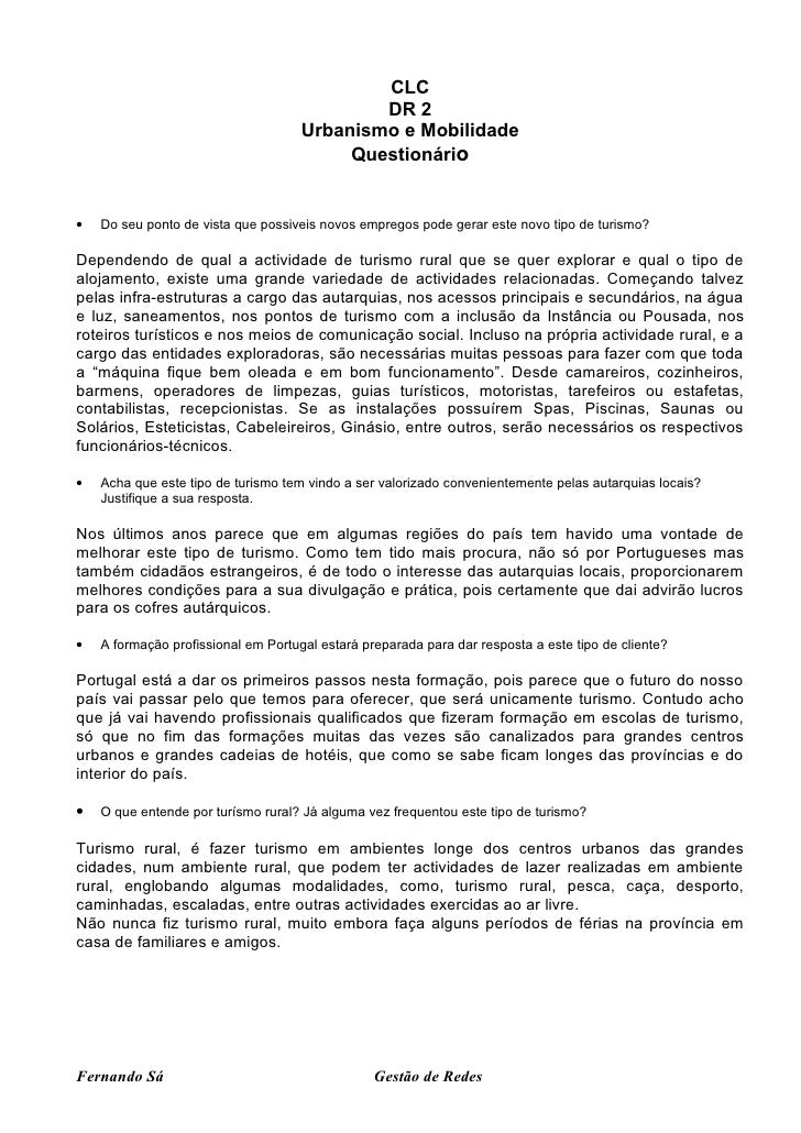 CLC DR 2 Urbanismo e Mobilidade Questionário