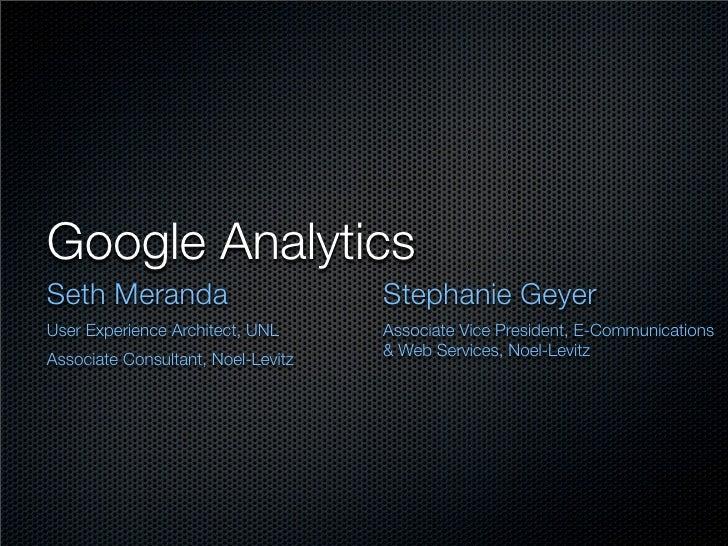 Google Analytics - A Primer