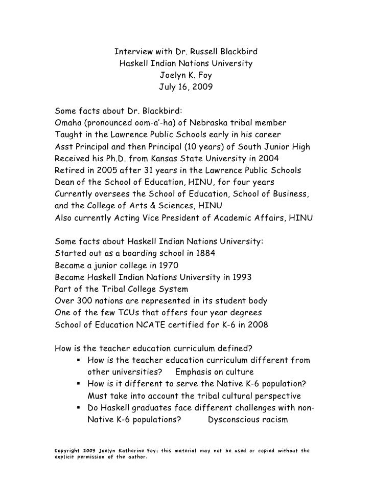 Interview with Dr. Russell Blackbird                      Haskell Indian Nations University                               ...