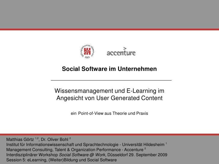 Social Software im Unternehmen Wissensmanagement und E-Learning im  Angesicht von User Generated Content ein   Point-of-Vi...