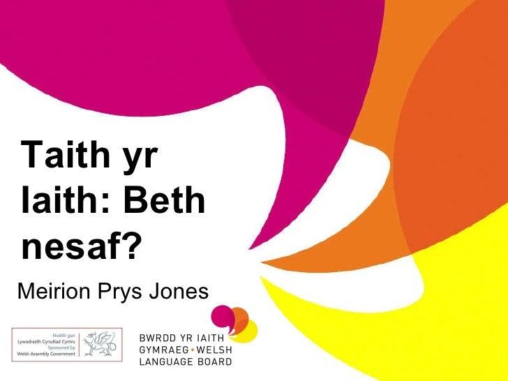Meirion Prys Jones Taith yr Iaith: Beth nesaf?
