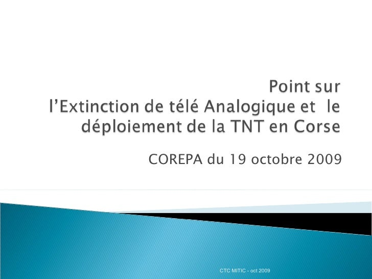 Problematique Tnt au 19 octobre 2009