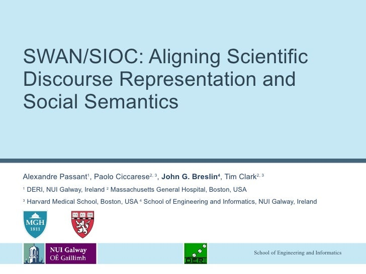 SWAN/SIOC: Aligning Scientific Discourse Representation and Social Semantics Alexandre Passant 1 , Paolo Ciccarese 2, 3 , ...