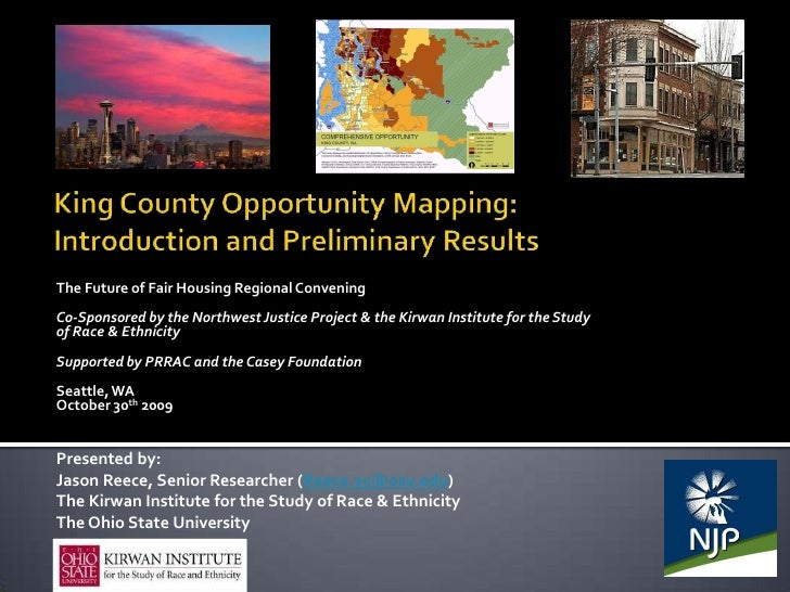 King County Opportunity Mapping: Introduction and Preliminary Results