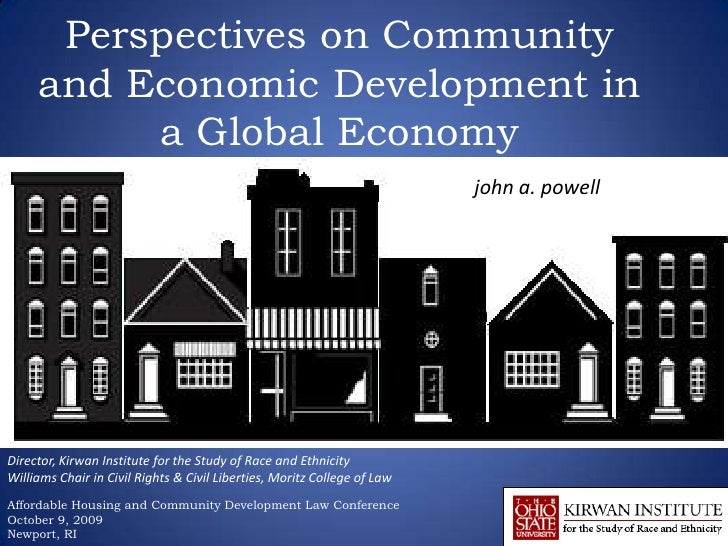 Perspectives on Community and Economic Development in a Global Economy