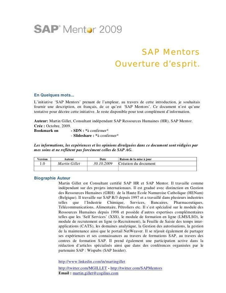 Introduction francophone des SAP Mentors