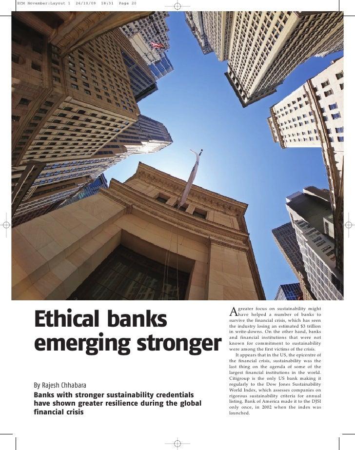 Ethical banks  emerging stronger