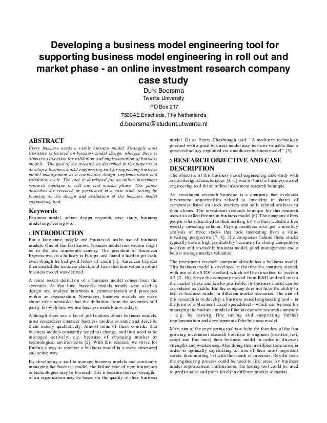 BSc-thesis: Developing a business model engineering tool for  supporting business model engineering in roll out and  market phase - an online investment research company  case study