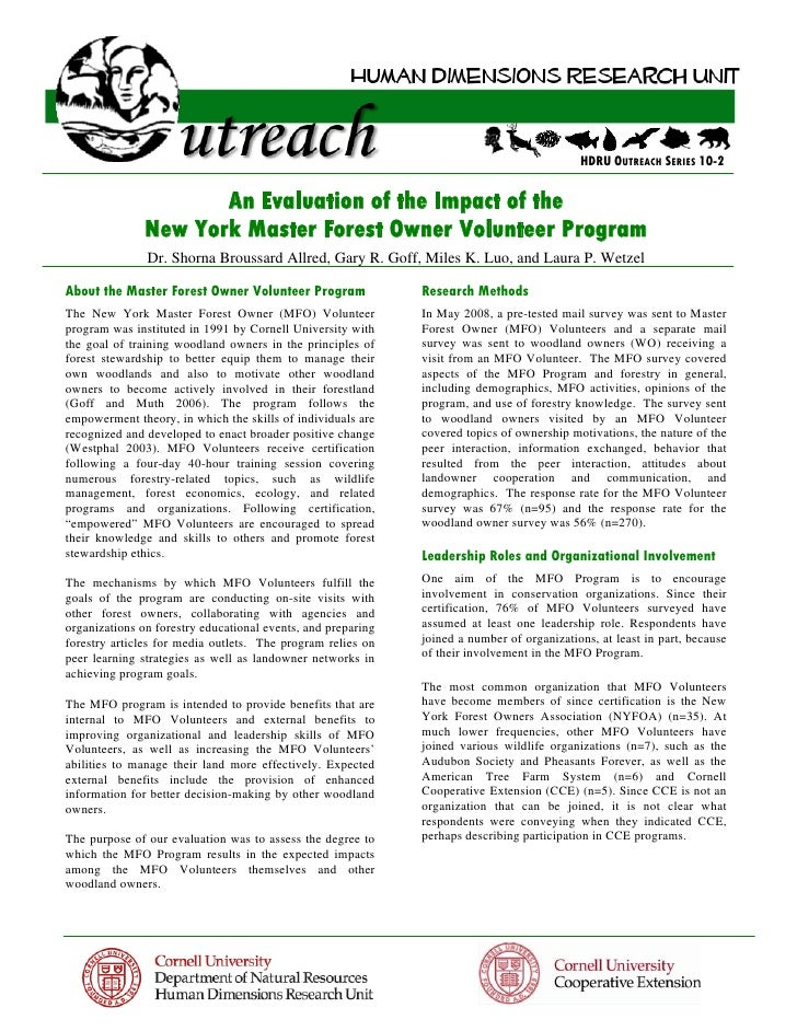 HDRU OUTREACH SERIES 10-2                      An Evaluation of the Impact of the               New York Master Forest Own...