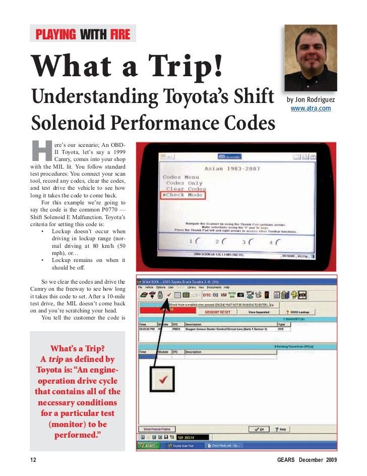 Understanding Toyota's Shift Solenoid Performance Codes