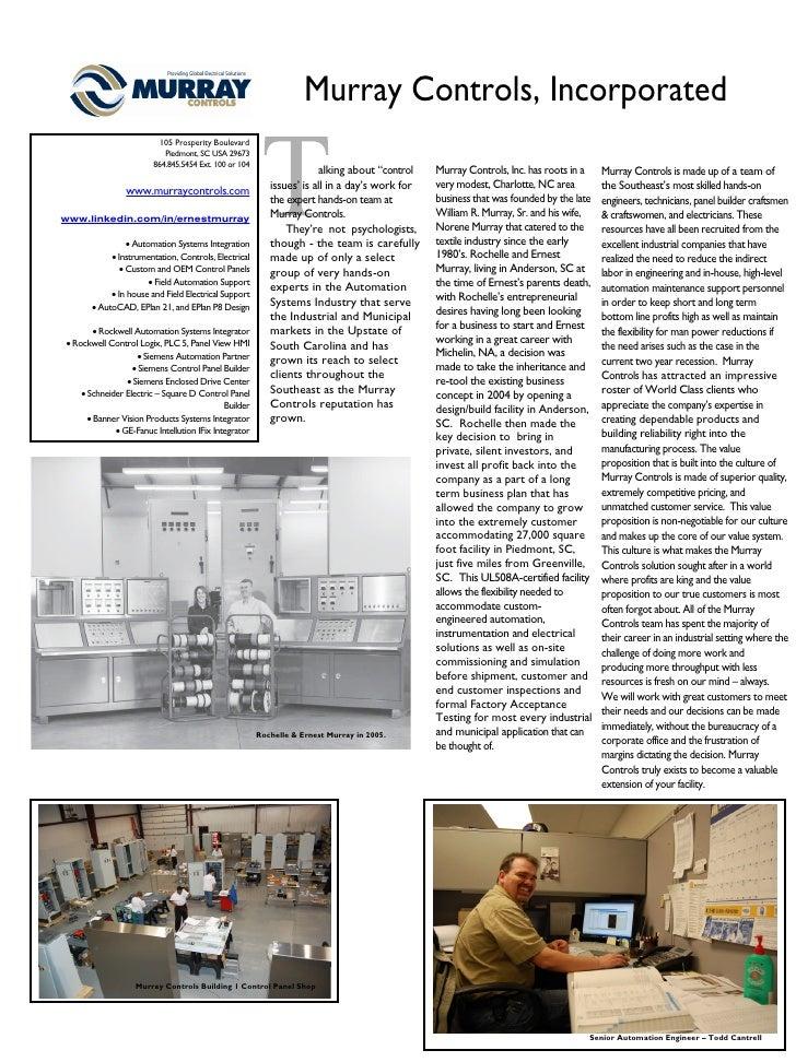 Murray Controls, Incorporated                           105 Prosperity Boulevard                            Piedmont, SC U...