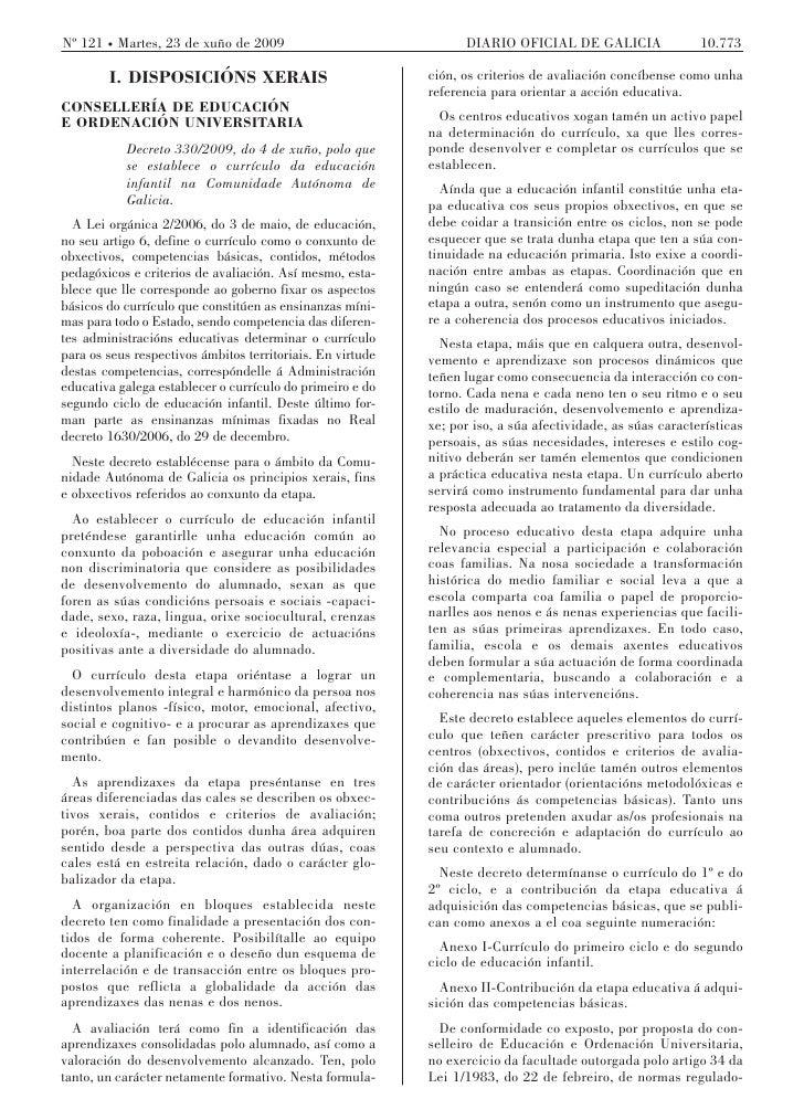 Nº 121 Martes, 23 de xuño de 2009                                 DIARIO OFICIAL DE GALICIA                 10.773        ...