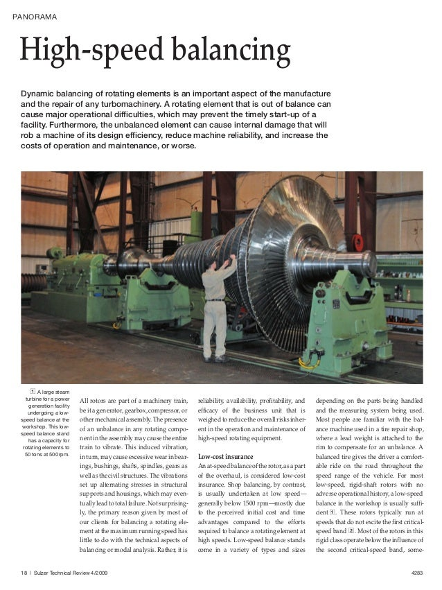 High-speed balancing, Sulzer Technical Review, 2009