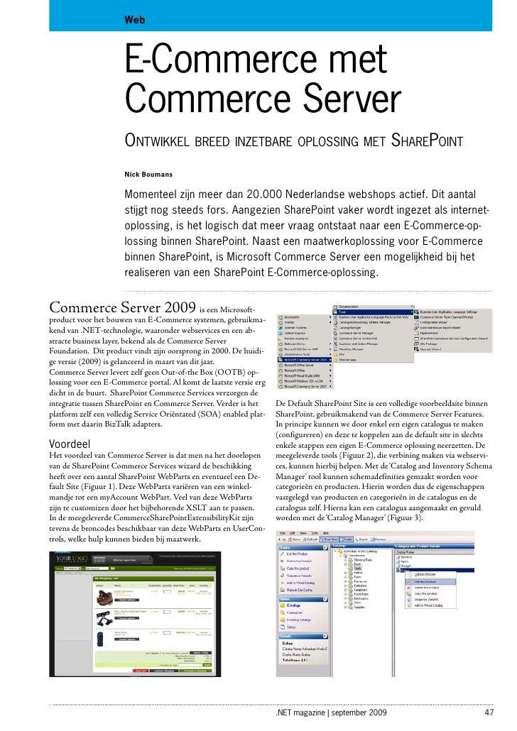 Web                          E-Commerce met                       Commerce Server                       Ontwikkel breed in...