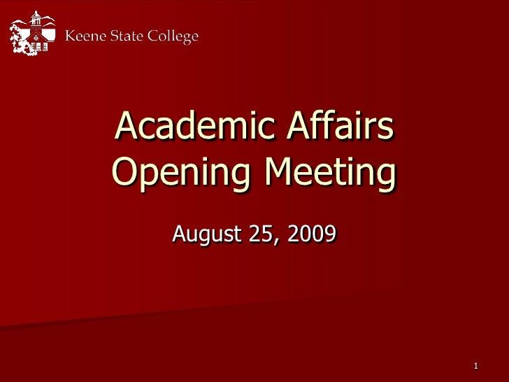 2009 Academic Affairs Meeting Slides