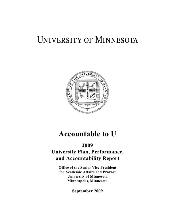 Accountable to U              2009 University Plan, Performance,  and Accountability Report   Office of the Senior Vice Pr...