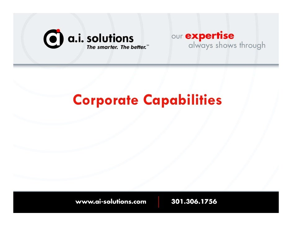 2009 Ai Solutions Capabilities